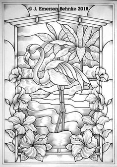 A pattern for stained glass. Builds to 16 × Customers will receive two full scale black and white prints via USPS. Stained Glass Crafts, Faux Stained Glass, Stained Glass Designs, Stained Glass Panels, Stained Glass Patterns, Mosaic Patterns, Glass Painting Designs, Paint Designs, Glass Painting Patterns
