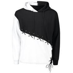 Color Block Criss Cross Lace Up Hoodie White And Black Size M is part of Hoodie fashion - Buy Color Block Criss Cross Lace Up Hoodie White And Black online, fidn many other Men's Clothing Hoodie Outfit, Sweatshirt Dress, Hoodie Sweatshirts, Hoody, Casual Outfits, Fashion Outfits, Fashion Trends, Cheap Fashion, Fashion Clothes