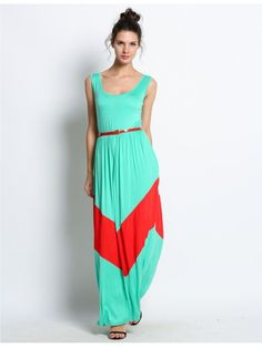 Green Sleeveless Maxi Belted Dress