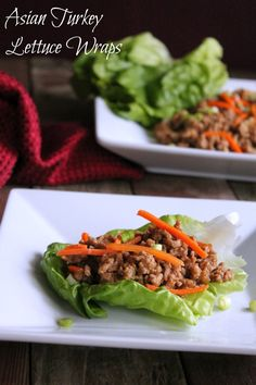 Asian Turkey Lettuce Wraps delicious lunch or dinner idea! Soy sauce, ginger, garlic, sesame oil and a dash of Sriracha make the ground turkey incredible. See full recipe here 171 calories and 5 weight watchers points plus