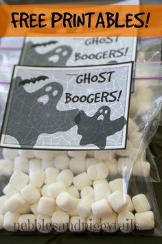 Ghost BOOGERS!  Funy idea.  With marshmallows.  Also, easy Halloween Minute-to-Win-It Party (plus printables) and fun ideas.