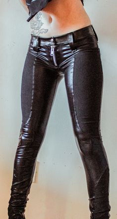 Image of TOXIC VISION faux leather biker pants