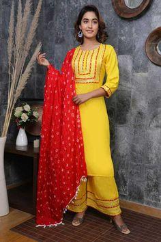Bollywood Style Dress, Bollywood Fashion, Salwar Kameez, Palazzo, Fashion Dresses, Sari, Indian, Explore, Yellow