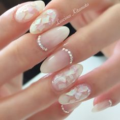 As Konad and Salon Express pampered feeling, there is a design manicur. Seashell Nails, Wedding Day Nails, Natural Nail Designs, Bride Nails, Nail Candy, Girls Nails, Minimalist Nails, Japanese Nails, Diamond Nails