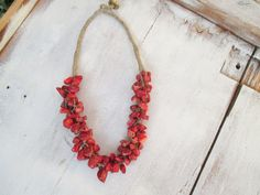 Red Coral Bib Necklace Linen macrame Necklace Bib Statement