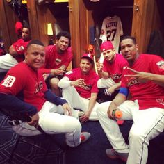 Miggy & VMart with Jose Altuve, Salvador Perez and Felix Hernandez before the 2014 MLB Home Run Derby All About Tigers, Felix Hernandez, Just Run, Detroit Tigers, Houston Astros, Major League, All Star, Mlb, Girlfriends