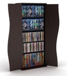 Blu-Ray DVD CD Storage Cabinet Media Tower Display Rack Shelf Doors LED LCD  /// perfect for storing my eye shadow palettes in