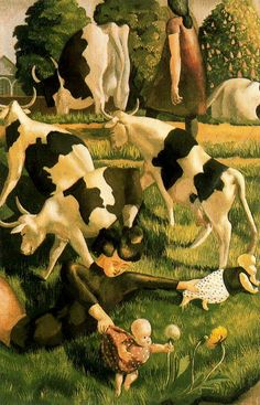 'Cows at Cookham' by British painter Stanley Spencer Oil on canvas, x cm. via BBC Stanley Spencer, Dame Mary, Illustrations, Illustration Art, English Artists, British Artists, Cow Art, Art Deco, Art Uk