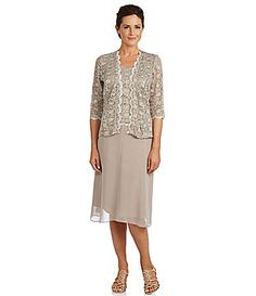 R and M Richards Lace Chiffon Jacket Dress #Dillards. Most of the dresses have a neckline that is too low cut but if there is a jacket, it might be ok.