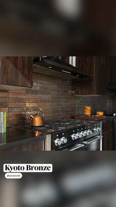 Kitchen Tile, Luxury Home Decor, Modern Kitchen Design, Subway Tile, Kyoto, Tile Floor, Kitchens, Bronze, Flooring