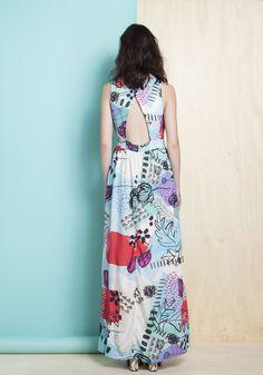 Vestido viscose longo transpasse costas estampa ilustração do amor - Longos - Vestidos
