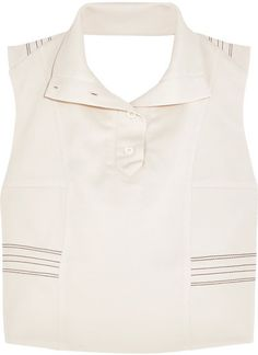 Atlein - Cropped Stitched Stretch-jersey Crepe Top - Cream