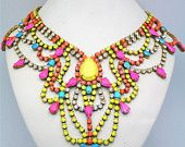 Statement Squash Blossom Necklace with Vintage and Swarovski Detail - Example. $700.00, via Etsy.