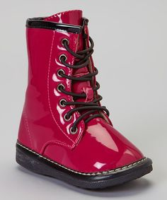 Take a look at this Hot Pink Squeaker Combat Boot on zulily today!