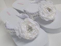 Bridal Flip Flops / Wedding Satin Flip Flops / by rossyaccesorio, $38.99