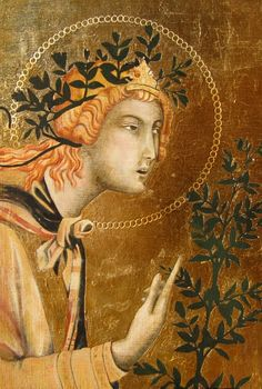 The next painting was recreated from Simone Martini's Annunciation and Two Saints. It was created with egg tempura and gold leaf.