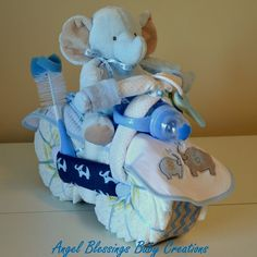 Elephant Motorcycle Diaper Cake Baby Shower Centerpiece Boy, Girl, Gender Neutral Made To Order Unique Baby Shower Welcome Baby Home Present Motorrad Windel Kuchen Baby [. Regalo Baby Shower, Baby Shower Diapers, Baby Boy Shower, Baby Shower Cakes, Baby Shower Parties, Diaper Shower, Elephant Baby Shower Centerpieces, Baby Shower Presents, Baby Shower Gifts For Boys