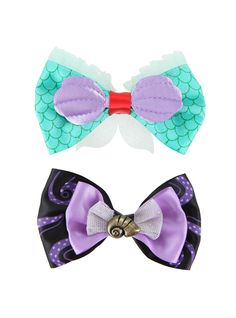 "<p>Sometimes you feel like a mermaid. Sometimes you feel more like a sea witch. No need to choose a side! Doll up your 'do with this bow set from Disney's <i>The Little Mermaid</i>. One bow features an Ariel cosplay design and the other an Ursula cosplay design.</p>  <ul> 	<li>4"" across</li> 	<li>Imported</li> </ul>"