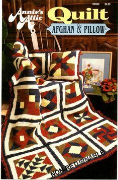 Annie's+Attic+Quilt+Afghan+&+Pillow+Crochet+Pattern+8B042