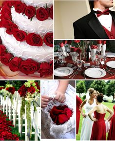 red wedding theme inspiration - you could add a country theme to the flowers using wheat, sunflowers or daises!