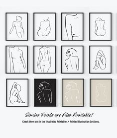 Minimal Figure Drawings, Nude Figure Prints, Minimal Line Contour Illustrations, Female Drawings. Available to order as high-quality art prints or purchase and instantly download the artwork to print from home! --The Peoples Prints Shop at etsy.com/shop/thepeoplesprints