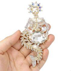 4 Inch Mermaid Skull Brooch Gold-Tone Clear Austrian Crystal Ever Faith,http://www.amazon.com/dp/B00AT9KO0S/ref=cm_sw_r_pi_dp_EO5-sb1RZ67TPEYR