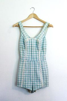 1950's Vintage Swim Suit Blue Gingham