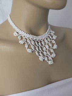 BIG SUMMER SALE hand crochet white necklace beadwork by Nakkashe, $15.00