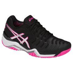 super popular 3ac82 2c1cc Asics Gel Resolution 7 Women s Tennis Shoe, in glacier black, silver, and  hot