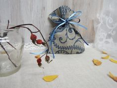 Linen bags Natural linen small bags blue modern. Jewelry Pouches