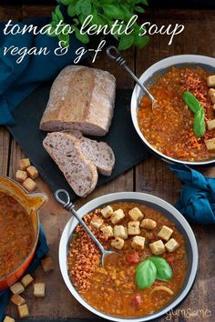 Deliciously nutritious and comforting soup really doesn't get any easier than my mildly-spiced crockpot tomato lentil soup! It's vegan too! Just chuck the ingredients into your slow cooker, set the time, and a few hours later, voilà!, a comforting, low-effort meal to chase away winter chills! #vegan #soup #lentils #spicy #lentilsoup #vegansoup #tomatosoup #tomatolentilsoup #crockpot #slowcooker #crockpotsoup #slowcookersoup
