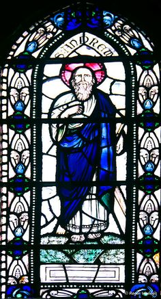 Saint Andrew stained glass window in St Magnus Cathedral in Kirkwall, Orkney