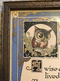 Vintage Buzza Motto Wise Owl Oak Tree Quote by AngelasTopShelf