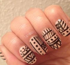 Tribal/ Aztec nail art