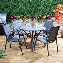 Arizona Round Aluminium and Textoline Garden Dining Set