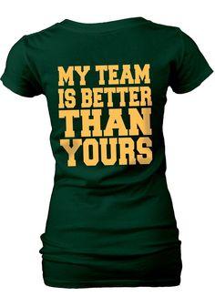 Baylor Bears Womens Green My Team V-Neck T-Shirt (back)