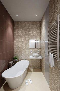 Risultati immagini per petite salle de bain design Mosaic Bathroom, Bathroom Layout, Small Bathtub, Small Bathroom, Mosaic Tile Designs, Mosaic Tiles, Bathroom Floor Plans, Beige Walls, Apartment Interior