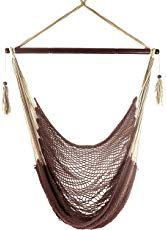 The Krazy Outdoors Mayan Hammock Chair - Large Cotton Rope Hanging Chair Swing Wood Bar - Comfortable, Lightweight - Indoor & Outdoor Porch, Yard, Patio Bedroom (Mocha Brown) online shopping - Toocutefashion Mayan Hammock, Rope Hammock, Diy Hammock, Indoor Hammock, Indoor Outdoor, Outdoor Living, Hanging Chair With Stand, Hanging Hammock Chair, Swinging Chair