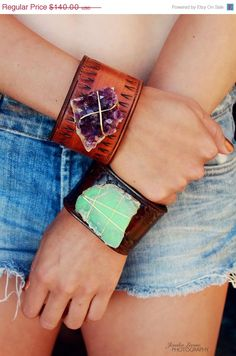 HOLIDAY SALE LUX Adjustable Bohemian Recycled Leather Raw Amethyst Gemstone Cuff with Brass Thumb Post. $105.00, via Etsy.