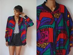 Vtg Colorful Abstract Print Zip Up Light Jacket w by LuluTresors, $29.99