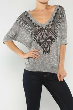 Ethnic Tribal Knitted Top, Grey