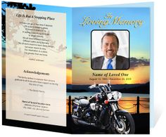 This funeral program template is great for the motorcycle enthusiast! The background is completes a beautiful sunset along a still lake and black motorcycle. Order Of Service Template, Elegant Words, Faith Verses, Photo Boxes, 50th Party, Program Template, Letter Size Paper, Funeral, Memorial Services