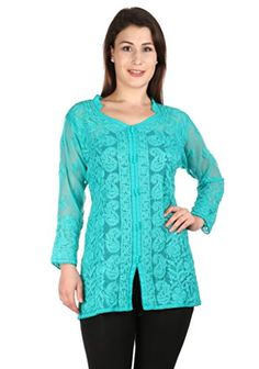 0e3bc1ead411f3 Blue Ladies Indian Lucknow Chikankari Hand Embroidery beach cover up    Kurtis Top Tunic for comfortable summer wear women ladies girls. Fashion  Women