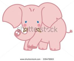 Little Elephant. Vector illustration of a Cute Little Pink Elephant. All elements are on separate layers. Illustrator 8, easily editable. - stock vector