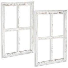 Window Frame Wall Decor 2 Pack - Large 18x22 Inch Rustic White Wood Window Pane Country Farmhouse Decorations Ilyapa Rustic Window Frame, Faux Window, Barn Wood Frames, Farmhouse Wall Decor, Rustic Wall Decor, Country Farmhouse, Modern Farmhouse, Rustic White, White Wood
