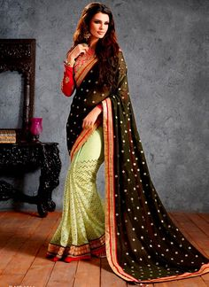 Piquant Black and Green Lace Work Net Designer Half N Half saree