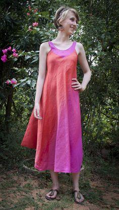 Orya linen and silk dress, hand dyed.