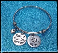 Sobriety Gift, From this day forward, Sobriety, AA, NA, Addiction Recovery Jewelry, Sobriety Date Bangle Bracelet, Recovery, ENGRAVED