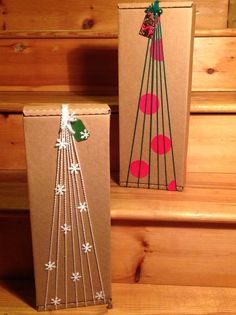 Modern Christmas Gift Wrap - Yarn Christmas Trees - Yarn Gift Wrap. http://www.pinterest.com/bethob/wrap-it-up/
