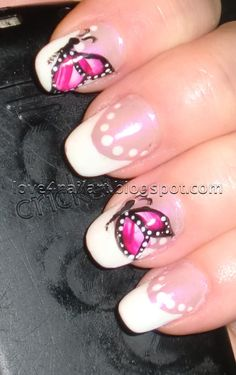 16 Breath-Taking Butterfly Nail Designs - Pretty Designs Butterfly Nail Designs, Butterfly Nail Art, French Nail Designs, Best Nail Art Designs, French Nails, Nagel Gel, Gorgeous Nails, Cool Nail Art, Beauty Nails